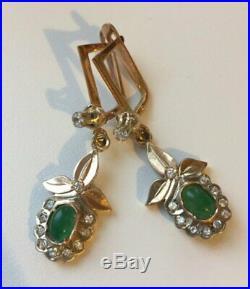 Vintage Rare Earrings Russian Soviet Union USSR Jewelry Gold 14K 583 6.1g. Beryl