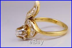 Vintage Rare Original USSR Russian GOLD RING YAKUTIA Diamond 750 18k Size 7.5