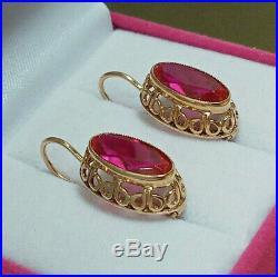 Vintage Retro Large Earrings Russian Soviet Union USSR Jewelry Gold 14K 583