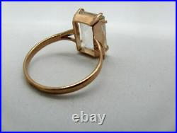 Vintage Rock Crystal Ring Sterling Silver 875 Russian Soviet Jewelry Size 8.5