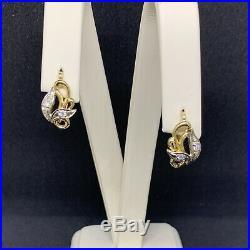 Vintage Russian Earrings Wiht Diamonds Gold 750 Stamp Star USSR 18k Soviet Union