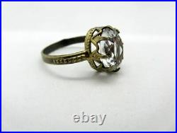 Vintage Russian Ring USSR Gilt Sterling Silver 875 Soviet Jewelry Size 7
