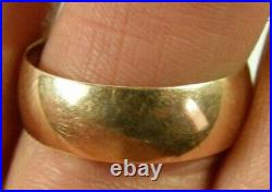 Vintage Russian Russia USSR 14K 583 Yellow Gold Wedding Cigar Wide Band Ring