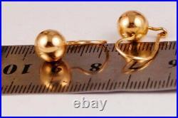 Vintage Russian Soviet Earrings Solid Rose Gold 583 14K, Women's Jewelry 2.98g