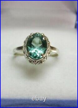 Vintage Russian Tourmaline Ring Sterling Silver 875 Women's Jewelry USSR Size 7