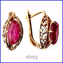 Vintage Russian soviet USSR 14k 583 gold Earrings is very beautiful. Ruby 3.69g