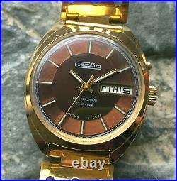 Vintage SLAVA Automatic cal. 2427 old USSR 70s wrist watch 27 Jewels