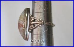 Vintage Soviet Ring Gilt Sterling Silver 875 Agate Stone Antique USSR Size 8.5