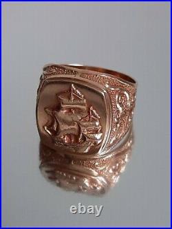 Vintage Soviet Rose Gold USSR 14 K 583 star Russian ring signet ship sail
