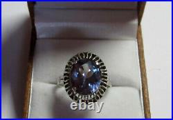 Vintage Soviet Russian Sterling Silver 875 Ring Alexandrite, Women's Jewelry 8.5