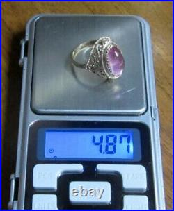 Vintage Soviet Russian Sterling Silver 875 Ring Amethyst, Womens Jewelry Size 8.5