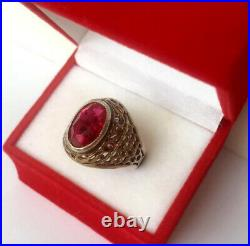 Vintage Soviet Russian Sterling Silver 875 Ring Ruby, Men's Jewelry Size 8.5