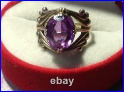 Vintage Soviet USSR Antique Ring Gilt Sterling Silver 875 Alexandrite Size 8.5