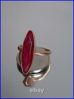 Vintage Soviet ring in rose gold ruby USSR 14K 583 star