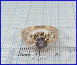 Vintage USSR Soviet Russian Ring Alexandrite Rose Solid GOLD 14K 583 Size 10