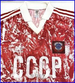Vintage Ussr Adidas 1990 Shirt Large Soviet Union Russia Cccp