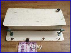 Vintage Wood Wall Kitchen Shelf 4 Metal Hook Towel Rail Apothecary Cabinet Rack