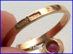 Vintage ring Soviet Union Russian jewelry Ruby Gold 583 14K 3.06 Star USSR